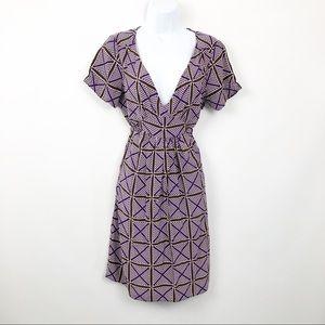 J Crew Dress VNeck Tie Waist Silk Purple/Brown.